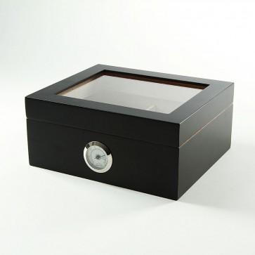 Basic Humidor Schwarz mit Glasdeckel für 25 Zigarren