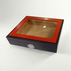 Basic Humidor schwarz/rot mit Glasdeckel für 15 Zigarren (2. Wahl)