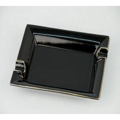 Zigarrenaschenbecher 2er schwarz mit Goldrand
