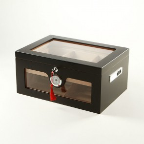 Humidor Schwarz Matt mit Glaseinsatz für 100 Zigarren