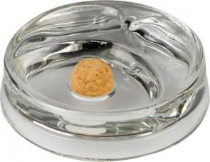 Pfeifenascher Glas rund transparent mit 2 Ablagen
