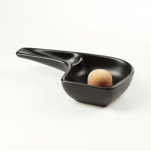 Pfeifenascher Keramik Pfeifenform schwarz/matt