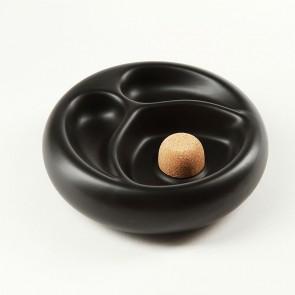 Pfeifenascher keramik schwarz/matt rund mit 2 Ablagen