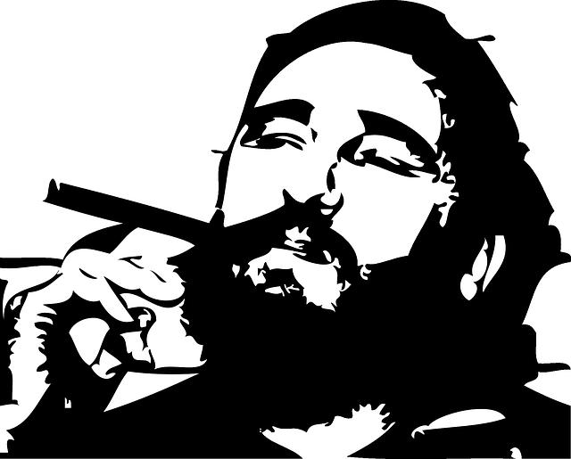 Fidel Castro mit Zigarre